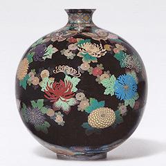 古美術 並河靖之 菊蝶文花瓶