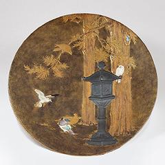 古美術 芝山蒔絵象嵌鳩灯篭図飾皿