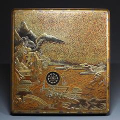 古美術 山水水車蒔絵硯箱