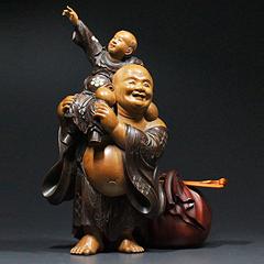 古美術 昭憲皇太后御遺物 木彫布袋像