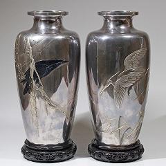 古美術 銀製烏鷺一対花瓶 銘:一長