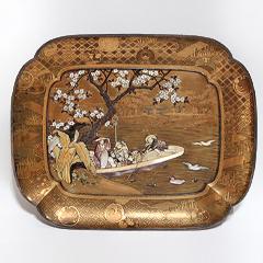 古美術 芝山宗明 美人花見桜図蒔絵飾皿