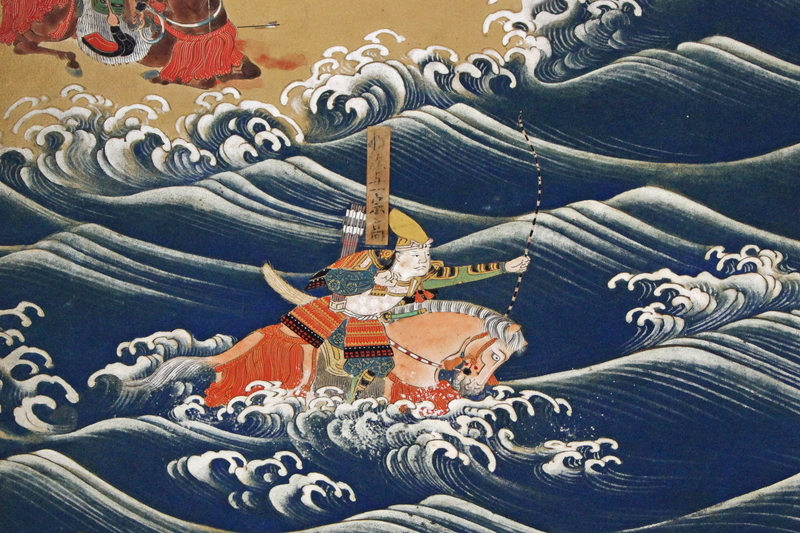 屋島の戦いにて平氏方の軍船に掲げられた扇の的を射落す那須与一。