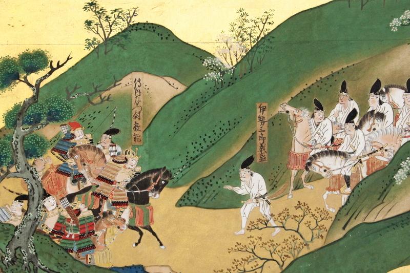 田口教能を虚言にて調略すべく、白装束で陣に赴く伊勢義盛。