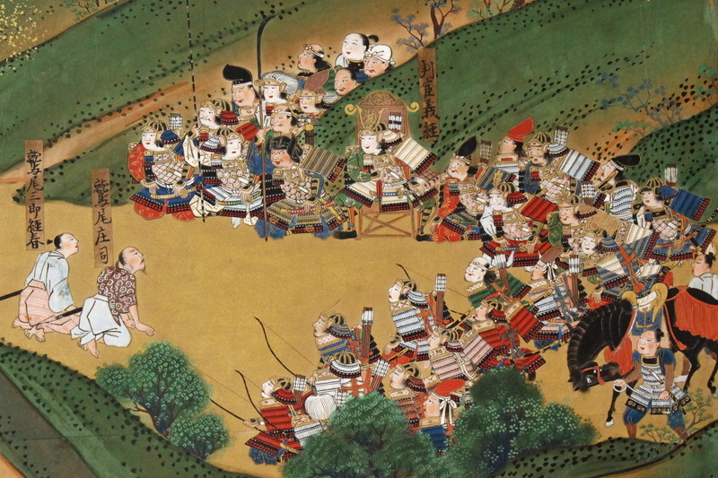 山に詳しい猟師・鷲尾庄司武久とその息子・鷲尾三郎経春(義久)。