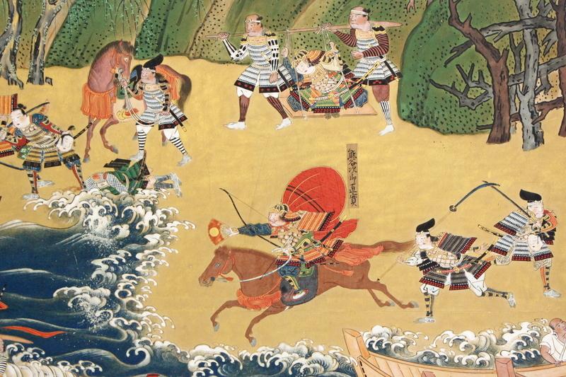 波際を逃げようとする平家の若武者・平敦盛に一騎打ちを申し込む熊谷直実。