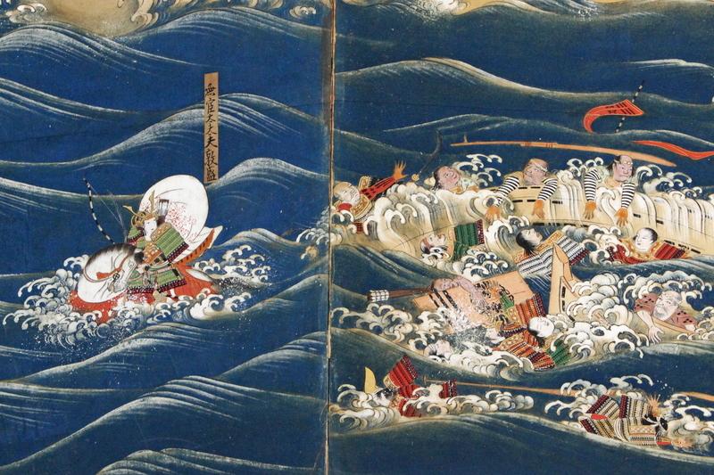 騎馬で船に逃げようとするも、熊谷直実に勝負を挑まれ討死にする平敦盛。